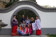 TRIP: Students Clara Holmes, Edward Hart-Davis and Alice Crossling visited China along with their teachers Marjorie Bedwell and Cassie Flint