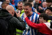 League Division 2: Hartlepool United v Exeter City at Victoria Park, Hartlepool in their last home game of the season where survival is the football league was confirmed with a 2-1 victory.  Players and manager mobbed after the final whistle.  Picture: CH