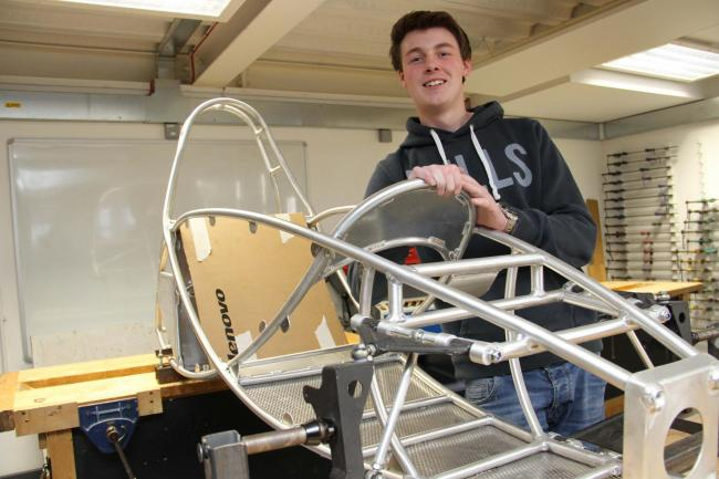 ENGINEER: Richmond sixth former Charlie Knox, 17, with his kart's frame.
