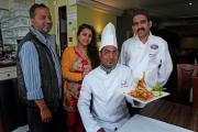 TASTY: Atindra Naskar head chef at Raj Bari in Yarm, pictured with company director Jamal Niah, front of house staff Rituparna Naskar and executive chef Salim Siddique, has won a Chef of the Year award Picture: SARAH CALDECOTT