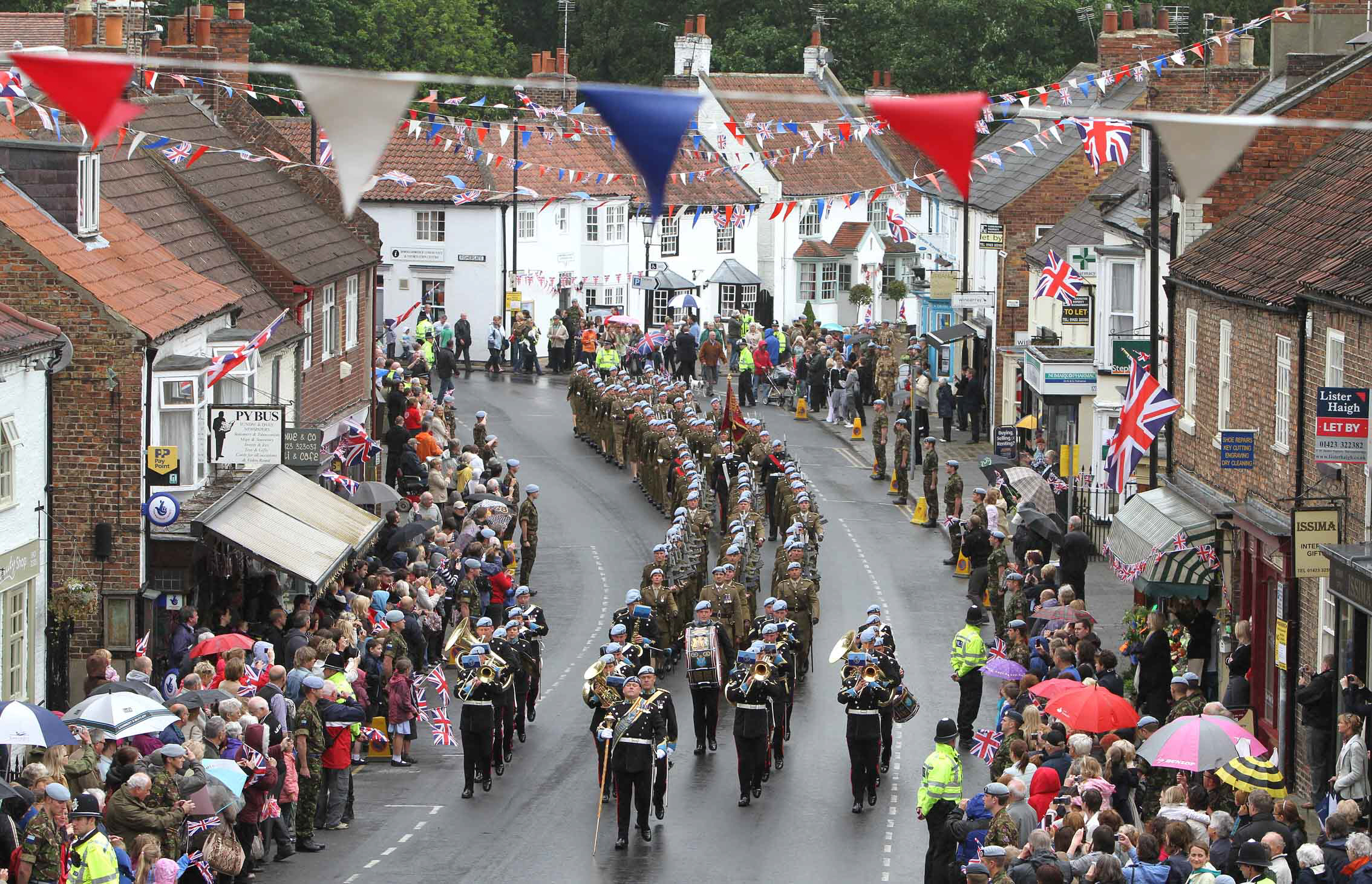 FRONTLINE TROOPS: Members of 9 Regiment Army Air Corps parade through Boroughbridge