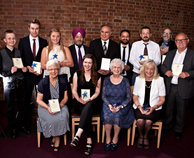 LOCAL HEROES: Bailey Shaw of Young Carers Aloud!, David Saddington, Keavey White of Young Carers Aloud!, Gurprit Singh Kahlon, Gurcharan Singh Sidhu and Lakhvinder Singh Kunkhuna of the Shri Guru Nanak Gurdwara and Sikh Community Centre, Glen Johnstone, R