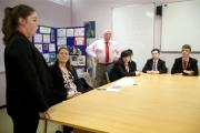 ORDER: Anna Turley MP visits St Peter's Catholic Voluntary Academy in South Bank to meet pupils who have taken part in a legal related competion.  14 year old Megan Weall recites a court room speech. Picture: CHRIS BOOTH (30215314)