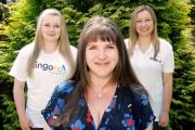 Sterling (centre) with Lingotot's first two franchisees from the new graduates scheme; Kimberley Bannister, who has set up in Northumberland, (left) and Rachel Raby-Elmer, who is launching her franchise in Bristol.