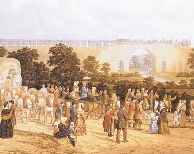 Historical moment: John Dobbin's watercolour of Locomotion No 1 crossing the Skerne Bridge in Darlington on Tuesday, September 27, 1825 - the moment which marked the opening of the Stockton and Darlington Railway