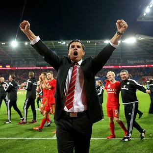 The Northern Echo: Wales manager Chris Coleman celebrates qualifying for Euro 2016 after their 2-0 victory over Andorra