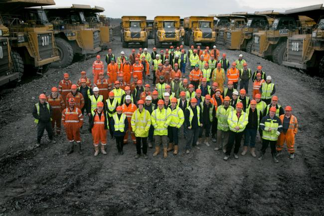 BASE: Banks workers and trucks at the company's Shotton mine		Picture: KEITH TAYLOR