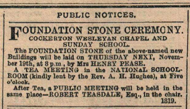 The Northern Echo: STONE CEREMONY: This front page advert caused The Northern Echo of November 19, 1874, to be placed inside the foundation stone