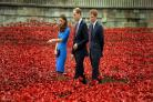 TWO FOR NEASHAM: The Duke and Duchess of Cambridge accompanied by Prince Harry inspect the Tower of London's poppies in August 2014