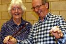 IN SAFE HANDS: Kath Bryant, chairman of Darlington Choral Society, and conductor Richard Bloodworth with the baton
