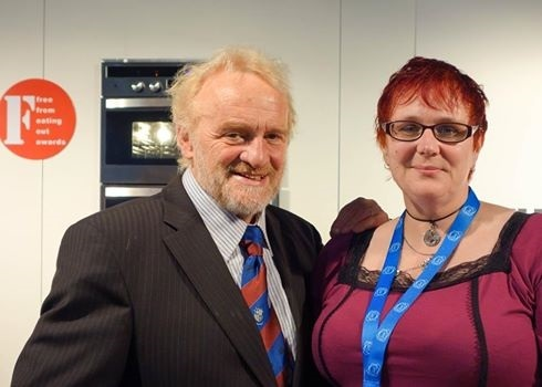 TV chef Antony Worrall Thompson gives FreeFrom award to Deb Knibbs of Stockton's Labyrinth cafe