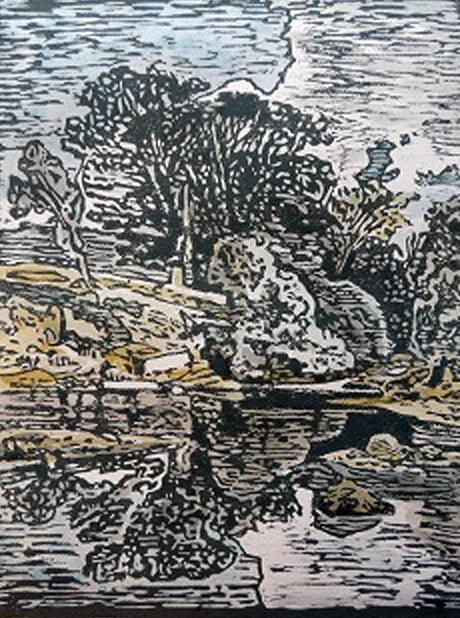Pool on the Greta (after Cotman) - woodcut by Anne Mason