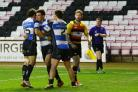 Garry Law  of Darlington Mowden Park celebrates a try during the National League One match between Darlington Mowden Park and Richmond at the Northern Echo Arena, Darlington on Saturday 7th November 2015 (Photo: Harry Cook | Shutter Press) (51164278)