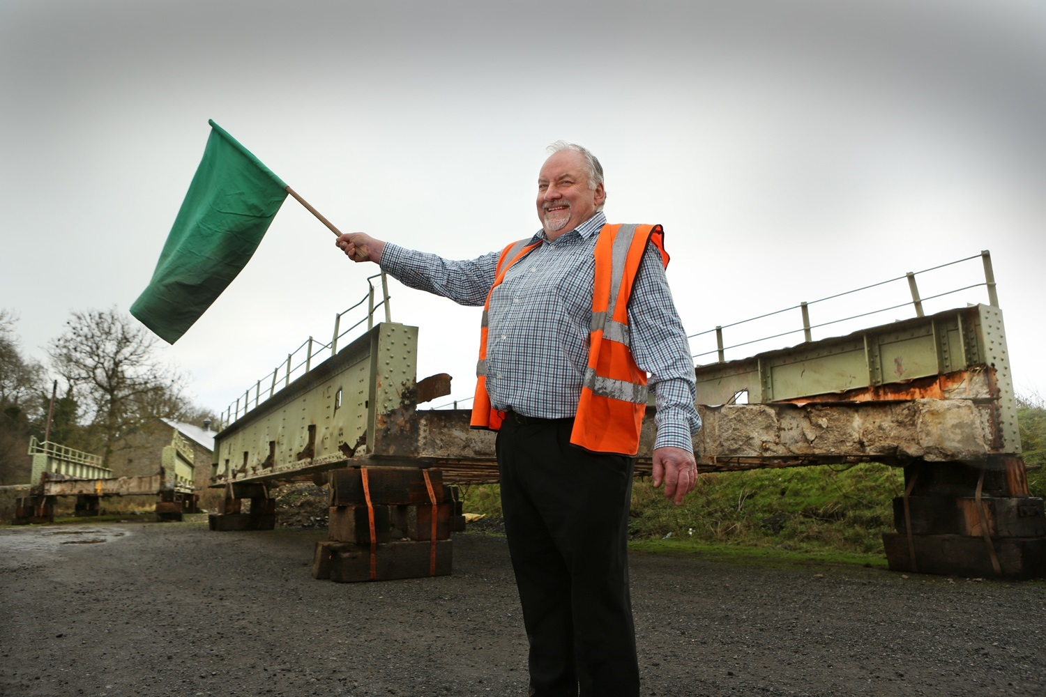 Nigel Park, general manager at Wensleydale Railway, with the secondhand bridge which used to cross the A1 near Catterick. It will now form a new crossing for the heritage railway at Redmire
