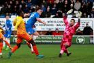 Hartlepool United V Wycombe Wanderers. Scott Fenwick scores the only goal of the match. Picture: TOM BANKS (52727395)