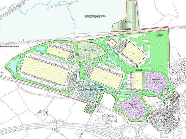 An indicative masterplan for the proposed Integra61 development, near Bowburn, County Durham
