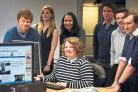 NEWSROOM OF THE FUTURE: The next generation of journalists training at the Echo. Left to right Andy Drozdziak, Rebecca Dew, Marita Phenix, Rebecca Parkinson, Nick Gullon, Jonathan Barber, and Andrew Young