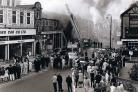 WELL ABLAZE: A crowd gathered on July 8, 1967, to see the drama at the Duplex garage on Grange Road, Darlington