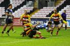 Warren Seals, seen here scoring on his Mowden Park debut against Richmond in November, landed five of seven conversions in the 45-29 win over Ampthill last Saturday
