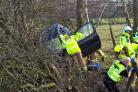 A car which crashed into a ditch off Otley Road, Harrogate Picture: North Yorkshire Fire & Rescue