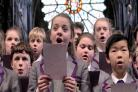 Pupils from The Chorister School, Durham, sing Canon Rosalind Brown's Song 4 Lilian at Durham Cathedral, in support of Cathedral volunteer Lilian Groves, who has been shortlisted for Visit England's Tourism Superstar 2016 award. Picture: NORTH NEWS AND PI