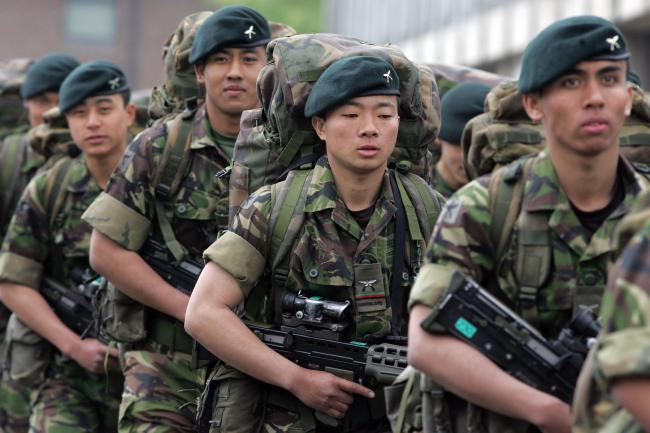 Nepalese recruits at the Infantry Training Centre, Catterick.