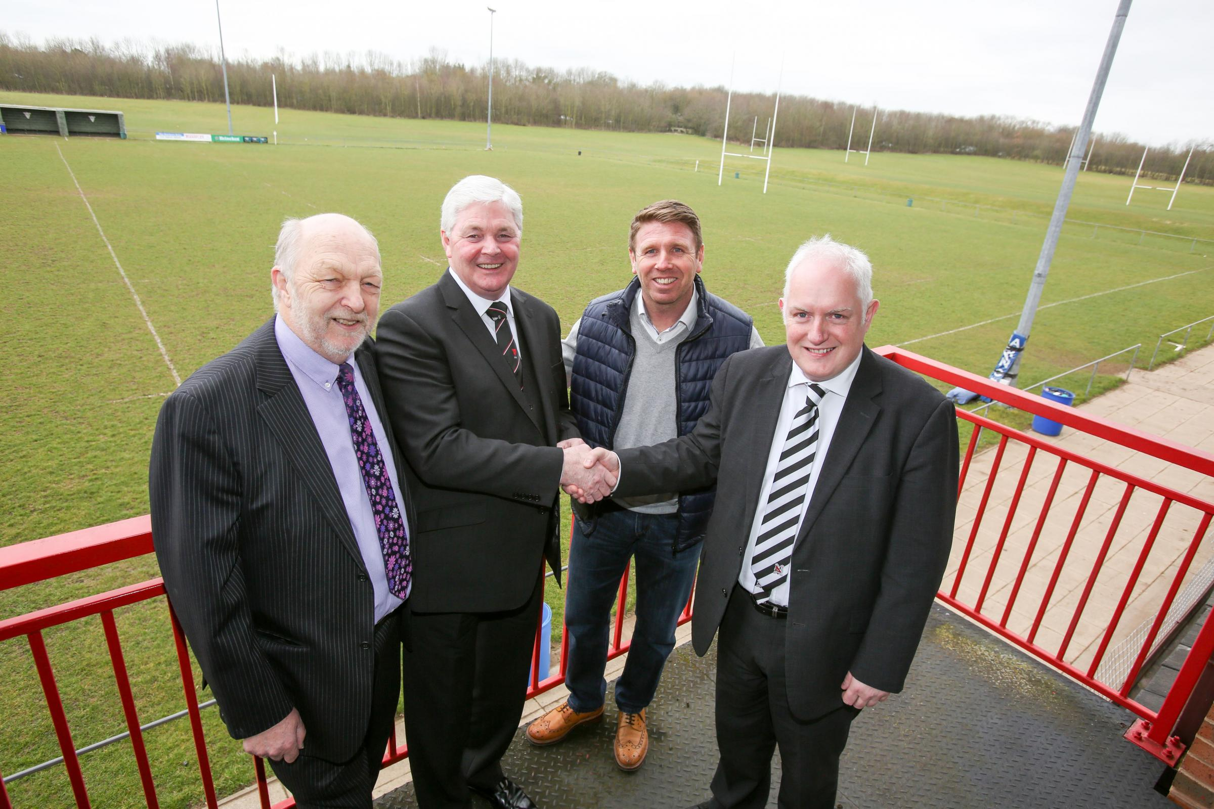 COMING HOME: Architect Malcolm Cundick Mike Wilkinson, chairman of Darlington RFC, Martin Gray, Darlington 1883 manager and John Tempest, corporate director of Darlington 1883 at Blackwell Meadows to announce that the club will play there next season