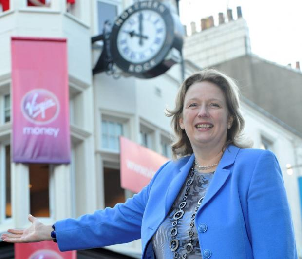 The Northern Echo: SUCCESSES: Jayne-Anne Gadhia, Virgin Money chief executive. She is pictured in front of the former Northern Rock branch, on Newcastle's Northumberland Street