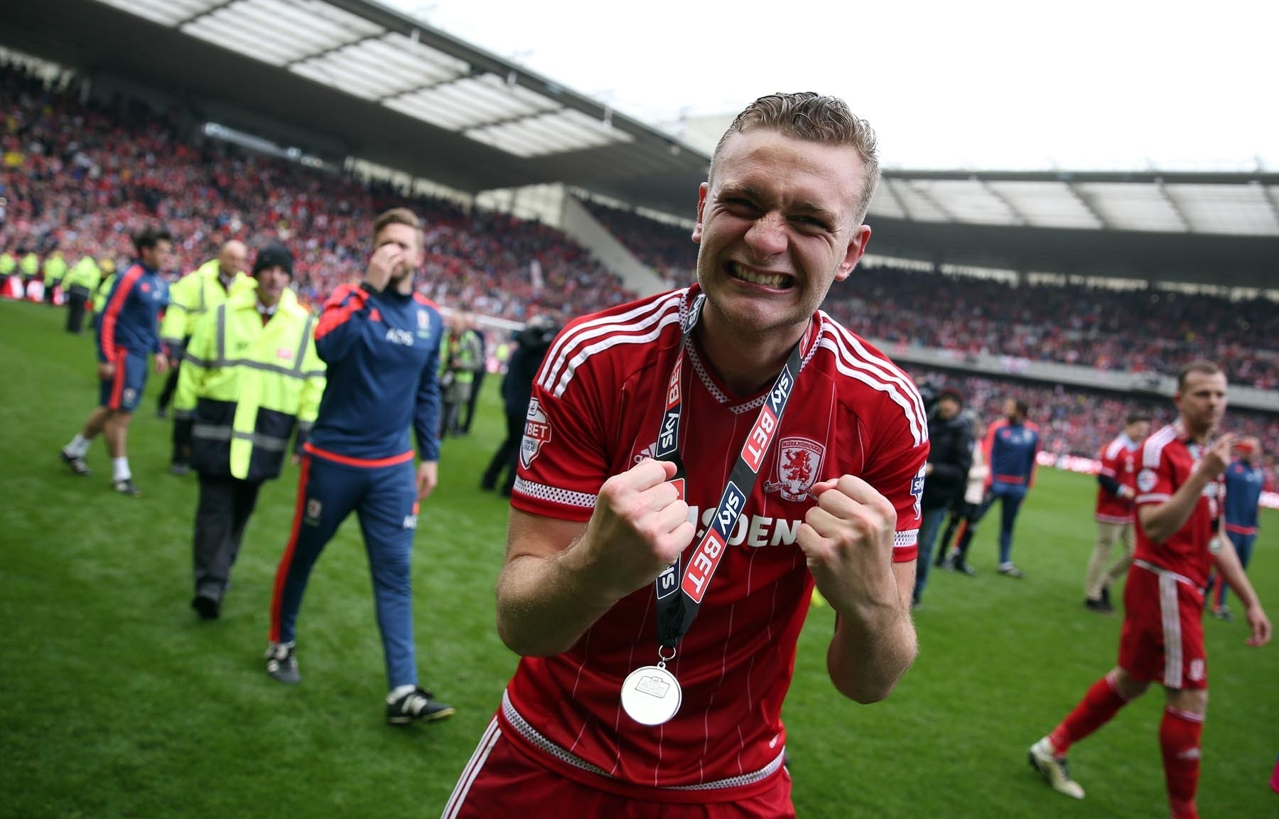 Get in: Ben Gibson celebrates at the Riverside with his promotion medal last weekend