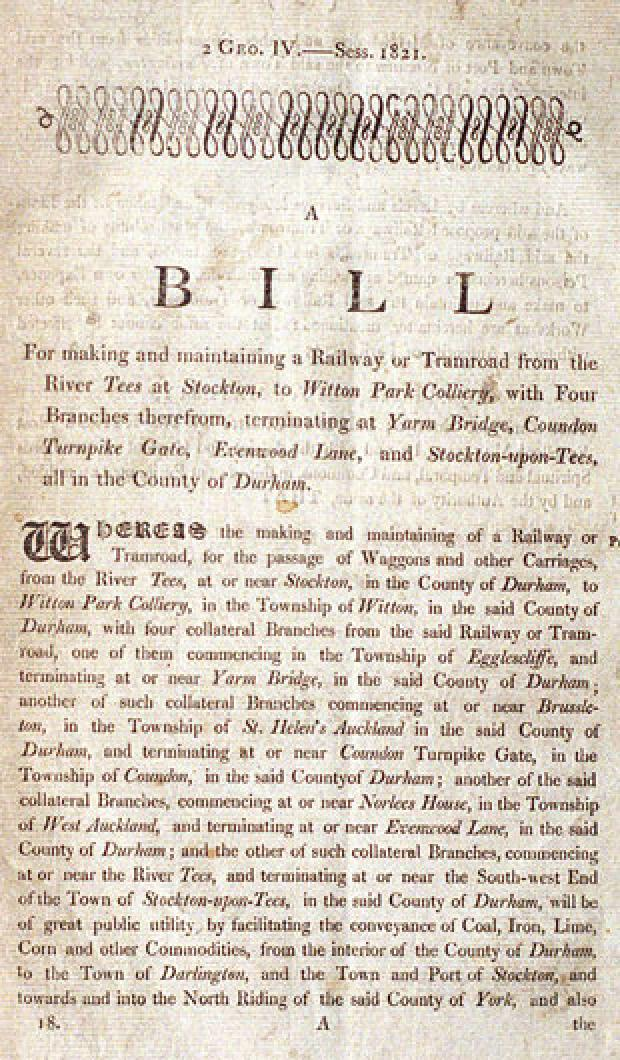 The Northern Echo: The front page of Francis Mewburn's copy of the Stockton and Darlington Railway Bill, which was granted its Royal Assent on April 19, 1821