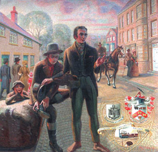 A fanciful drawing of George Stephenson and Nicholas Wood arriving at Bulmer's Stone in Northgate, Darlington on April 19, 1821.