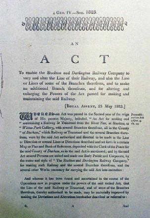The Act of Parliament passed on May 23, 1823, which gave the railway pioneers permission to use