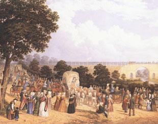 Historical moment: John Dobbin's watercolour of Locomotion No 1 crossing the Skerne Bridge in Darlington on Tuesday, September 27, 1825 - the moment which marked the opening of the Stockton and Darlington Railway.
