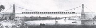 The Northern Echo: The 1830 suspension bridge over the River Tees at Stockton, which carried the railway to Port Darlington - the bridge, though, was not strong enough to carry a train as long as the picture suggests, and had to be replaced 14 years later.