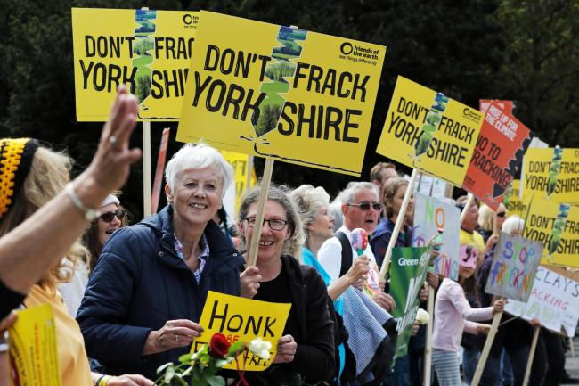 Anti-fracking protestors demonstrating outside County Hall in Northallerton