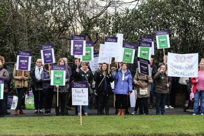 DEMO: Teaching assistants staging a demonstration at County Hall, Durham, recently.