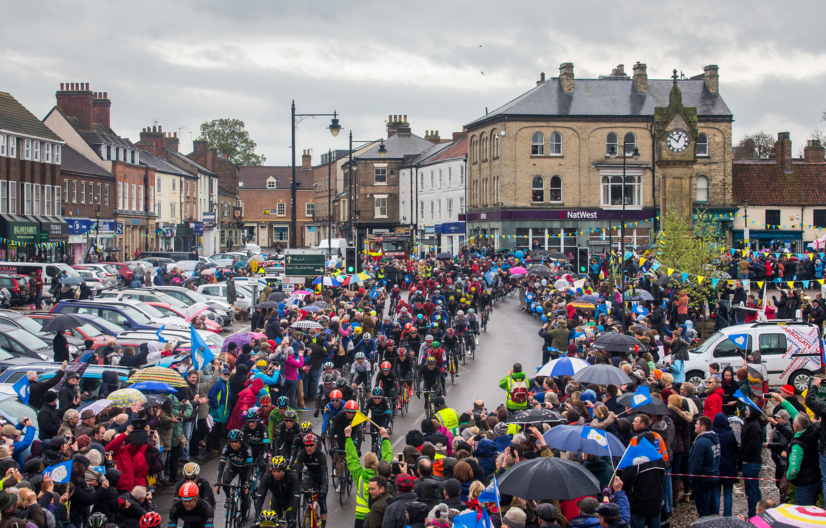 BOOST:Crowds greet Tour de Yorkshire in Thirsk.