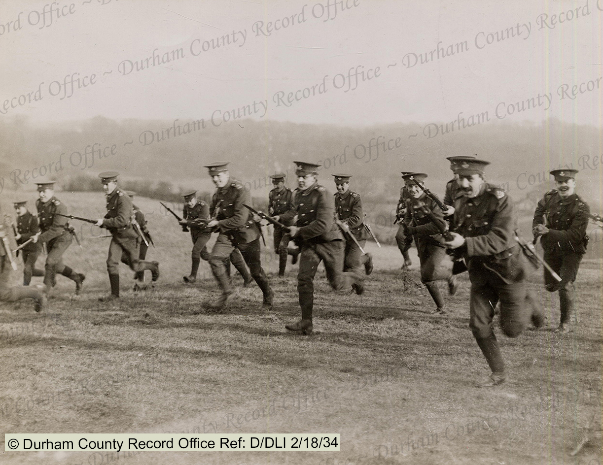 ASSAULT: At home in England, the Durham Pals were trained in the skills and tactics they expected to need on the battlefields of France. Photo reproduced by permission of Durham County Record Office and the Trustees of the former DLI