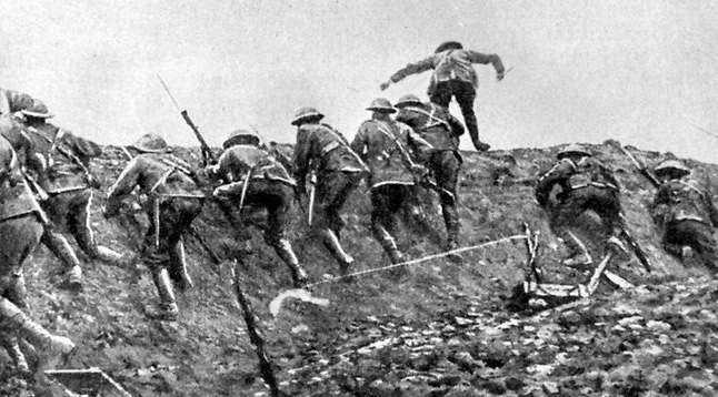 Soldiers go over the top at the Battle of the Somme into German gunfire