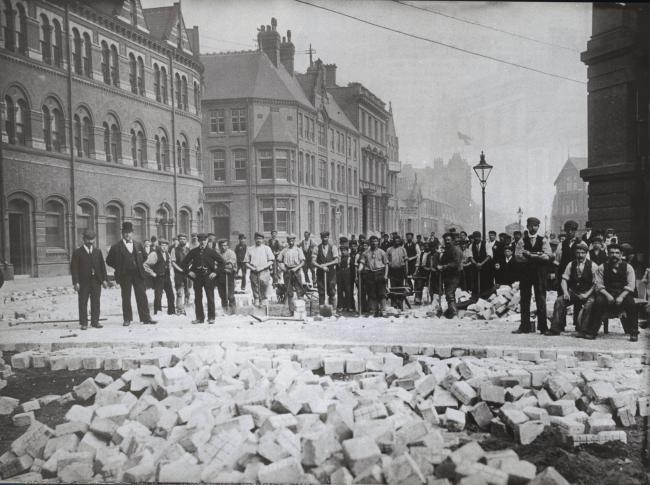 Paving the way: Navvies surfacing part of Marton Road, Middlesbrough, with scoria bricks in August 1902 Picture courtesy of Vintage Middlesbrough, by Norman Moorsom
