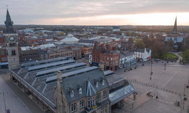 VIEW: David Bridgen has launched DroneCam Solutions Limited to produce images such as this one of Darlington's Covered Market