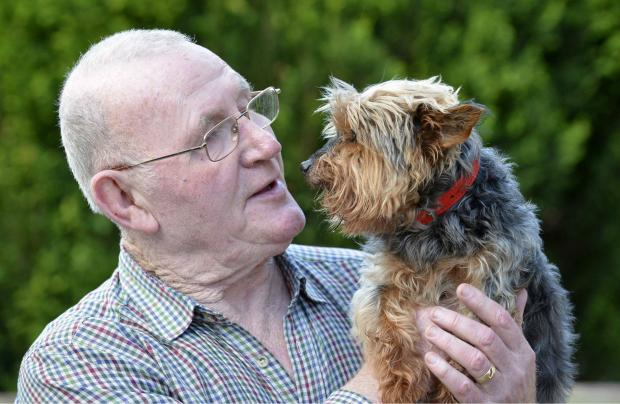 The Northern Echo: DEVASTATED: Jack, the oldest dog in the country, has been killed whilst about to enjoy a walk. Pictured with owner Ray Bunn Picture: NORTH NEWS