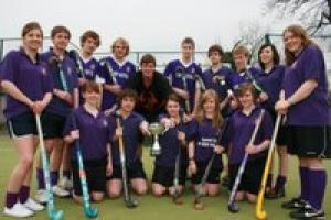 TRIUMPHANT: Richmond School Sixth Form's mixed   hockey team, who have just taken a national  title