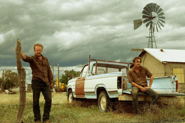 A scene from Hell or High Water. Pictured: Chris Pine as Toby Howard and Ben Foster as Tanner Howard