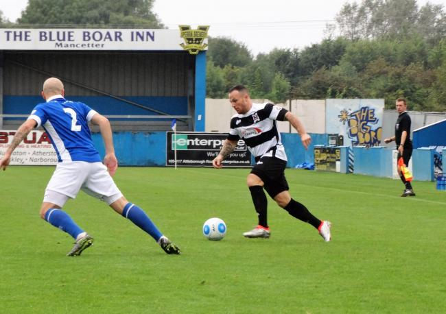 GOING FORWARD: Stephen Thompson on the attack for Darlington on Saturday at Nuneaton Town. Picture: THERESA CLEAR