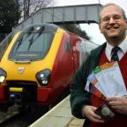 The Northern Echo: STATION MASTER: Alex Nelson celebrates the new train services at Chester-le-Street railway station in 2010