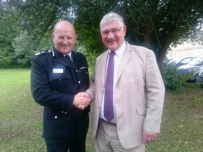 EXTENSION: Durham chief constable Mike Barton is congratulated by Police and Crime Commissioner Ron Hogg