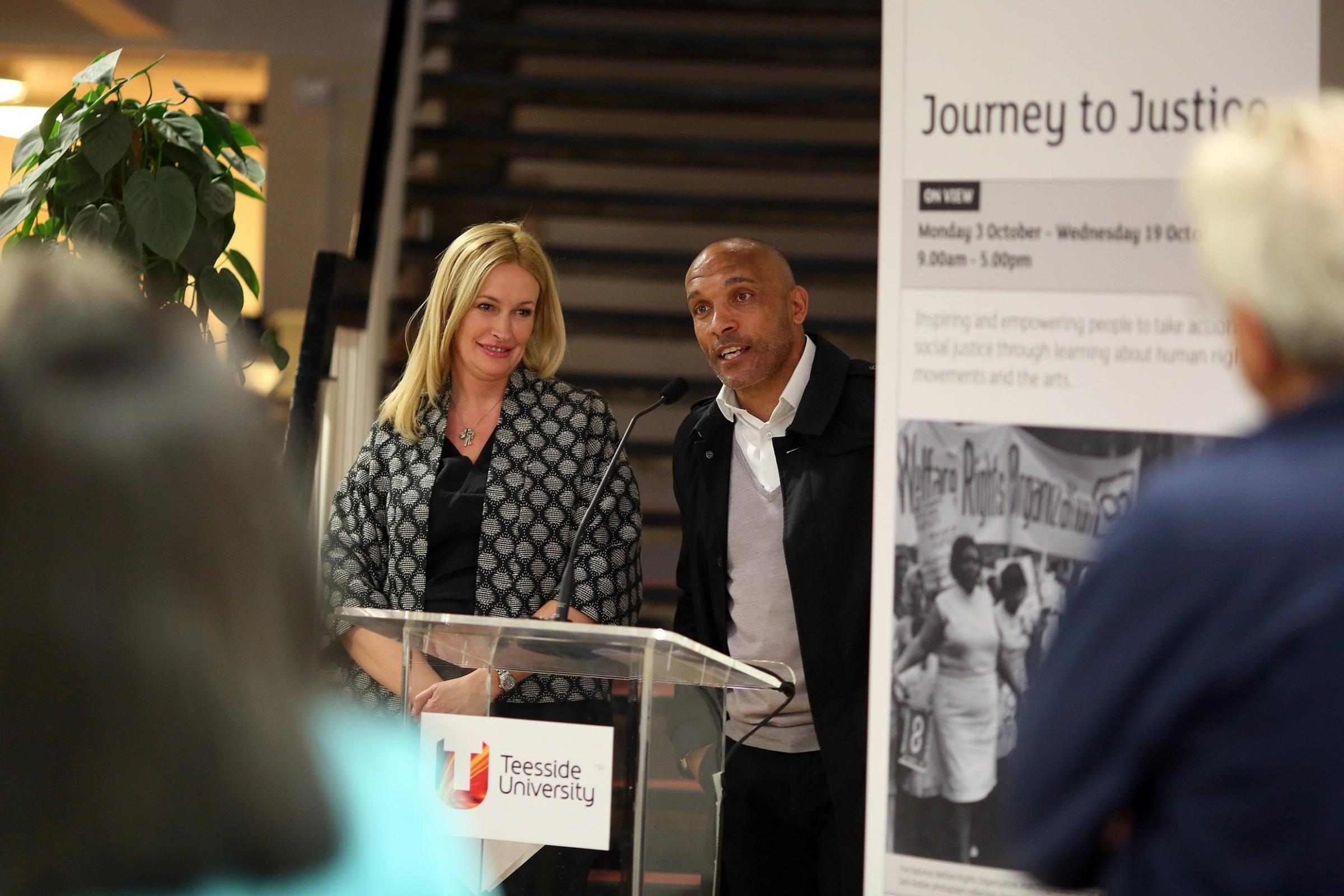 RIGHTS: Ex-Boro star Curtis Fleming and his wife Lucie at Teesside University's Journey to Justice exhibition. Picture: DAVE CHARNLEY