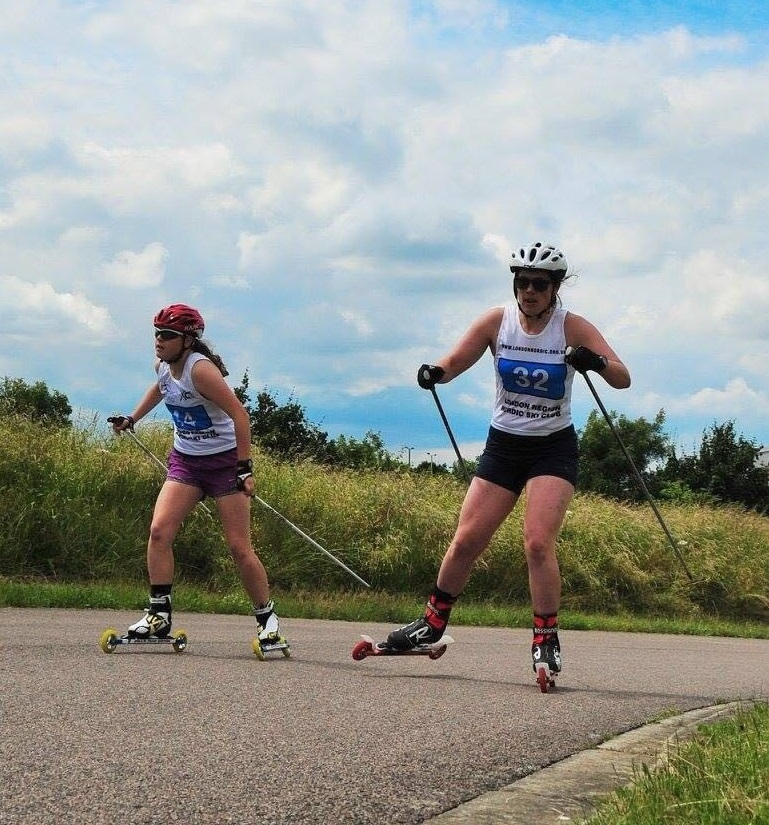 Steph Cook battles it out for a win in a roller-ski race