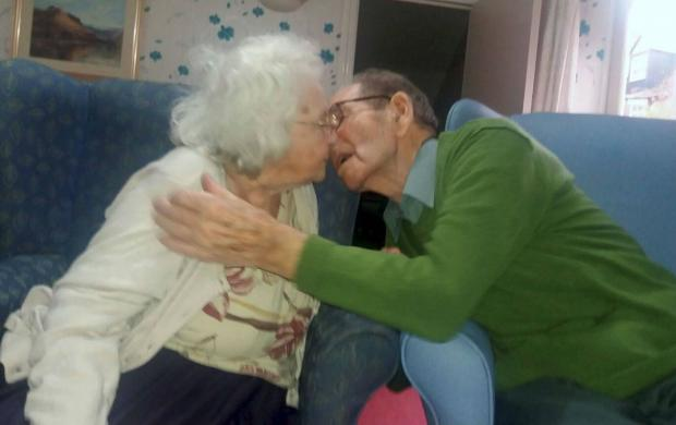 The Northern Echo: Jessie and Ray Lorrison finally been reunited at Westoe Grange Care Home in South Shields Picture: NORTH NEWS